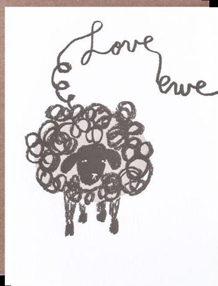 funky quirky unusual modern cool card cards greetings greeting original classic wacky contemporary art illustration photographic distinctive vintage retro eggpress 1973 nineteen seventy three letterpress birthday malarkey ep0472 love ewe sheep valentine love