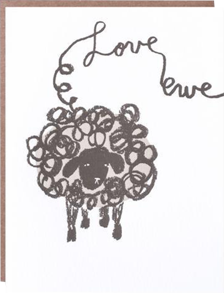 funky quirky unusual modern cool card cards greetings greeting original classic wacky contemporary art illustration photographic distinctive vintage retro eggpress 1973 nineteen seventy three letterpress birthday malarkey ep0472 love ewe sheep valentine love