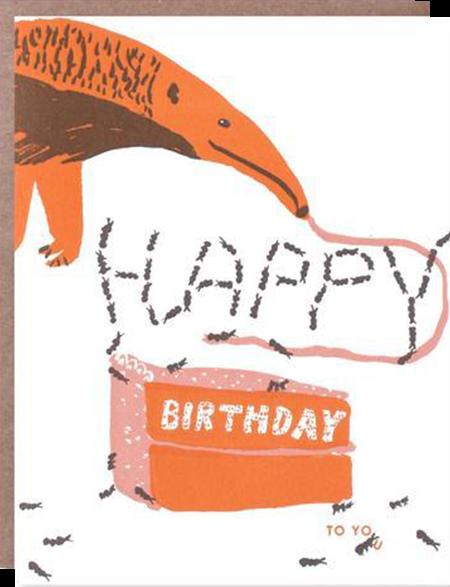 funky quirky unusual modern cool card cards greetings greeting original classic wacky contemporary art illustration photographic distinctive vintage retro eggpress 1973 nineteen seventy three letterpress birthday malarkey ep0494 anteater kids