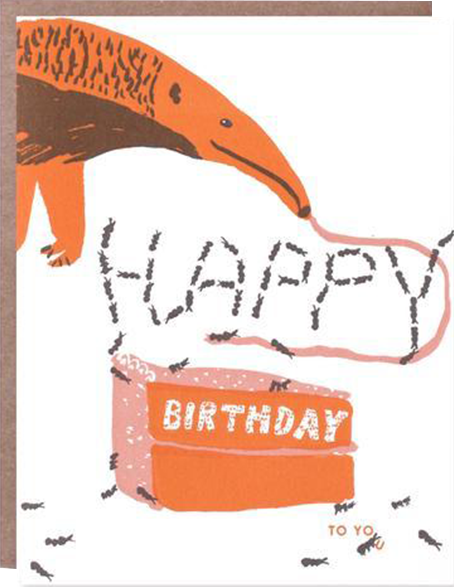 funky quirky unusual modern cool card cards greetings greeting original classic wacky contemporary art illustration photographic distinctive vintage retro eggpress 1973 nineteen seventy three letterpress birthday malarkey ep0494 anteater kids