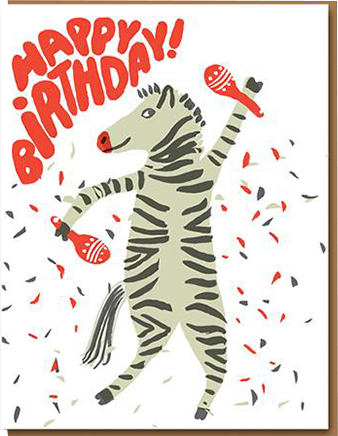 funky quirky unusual modern cool card cards greetings greeting original classic wacky contemporary art illustration photographic distinctive vintage retro eggpress 1973 nineteen seventy three letterpress birthday malarkey zebra ep0548 maracas