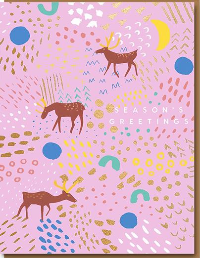 funky quirky unusual modern cool card cards greetings greeting original classic wacky contemporary art illustration photographic distinctive vintage retro 1973 nineteen seventy three letterpress Christmas xmas malarkey Carolyn Suzuki goods 0935 tundra reindeer