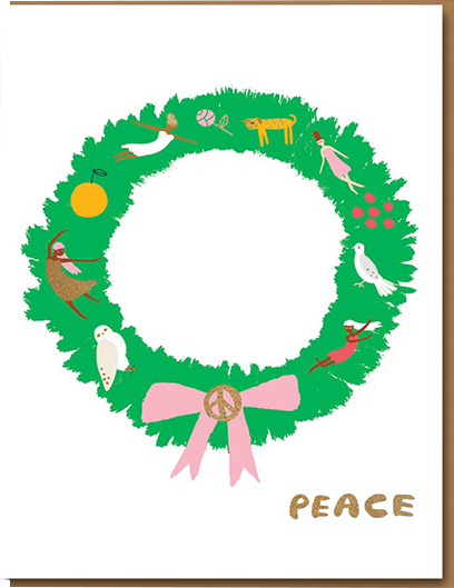 funky quirky unusual modern cool card cards greetings greeting original classic wacky contemporary art illustration photographic distinctive vintage retro 1973 nineteen seventy three letterpress Christmas xmas malarkey Carolyn Suzuki goods peace wreath
