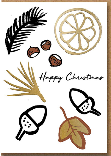 funky quirky unusual modern cool card cards greetings greeting original classic wacky contemporary art illustration photographic distinctive vintage retro 1973 nineteen seventy three letterpress Christmas xmas malarkey frozen forest acorns 4509