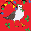 Malarkey Cards sell funky quirky unusual modern cool original classic wacky contemporary art illustration photographic distinctive vintage retro greetings cards Christmas xmas toy pincher Brighton bite-your-granny byg029 peck the halls seagull