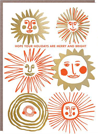 funky quirky unusual modern cool card cards greetings greeting original classic wacky contemporary art illustration photographic distinctive vintage retro 1973 nineteen seventy three letterpress Christmas xmas malarkey egg press holidays merry bright sun EP0457