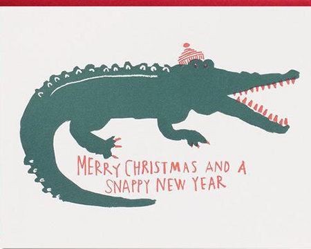 snappy new year funky quirky unusual modern cool card cards greetings greeting original classic wacky contemporary art illustration photographic distinctive vintage retro 1973 nineteen seventy three letterpress Christmas xmas malarkey egg press alligator EP3235