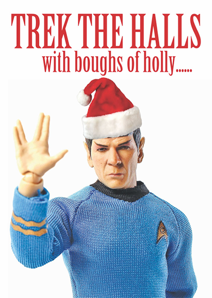Malarkey Cards sell funky quirky unusual modern cool original classic wacky contemporary art illustration photographic distinctive vintage retro greetings cards Christmas xmas toy pincher Brighton bite-your-granny trek the halls with boughs of holly star-trek dr Spock Trekkies
