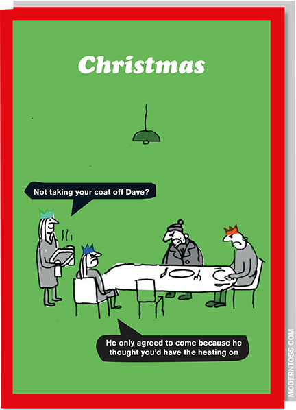 funky quirky unusual modern cool card cards greetings greeting original classic wacky contemporary art illustration photographic distinctive vintage retro Christmas xmas modern-toss funny rude humorous malarkey xmt59 not taking your coat off Dave heating