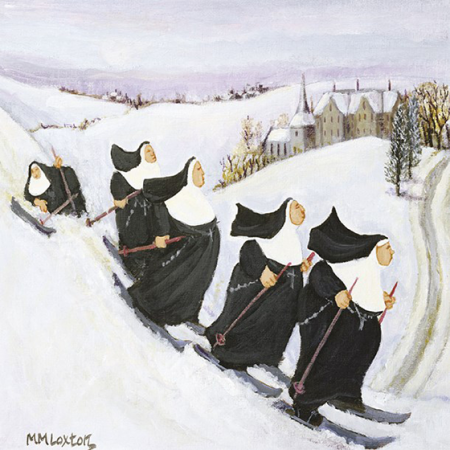 funky quirky unusual modern cool card cards greetings greeting original classic wacky contemporary art illustration photographic distinctive vintage retro Christmas xmas Tracks humourous funny cute charity packs malarkey xp334 skiing nuns rainbow trust
