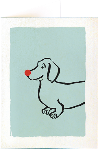 funky quirky unusual modern cool card cards greetings greeting original classic wacky contemporary art illustration photographic distinctive vintage retro fun letterpress Christmas xmas archivist gallery malarkey doxie dog XP72 dachshund red nose