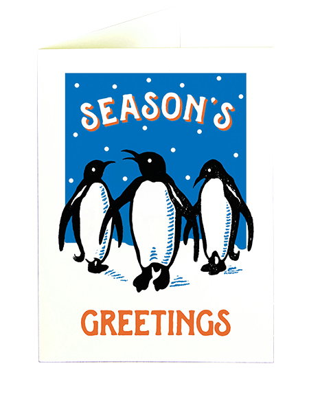 funky quirky unusual modern cool card cards greetings greeting original classic wacky contemporary art illustration photographic distinctive vintage retro fun letterpress Christmas xmas archivist gallery malarkey penguins XP82