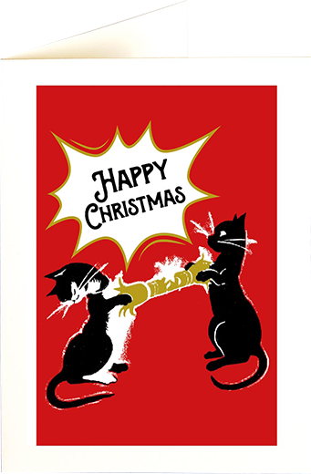 funky quirky unusual modern cool card cards greetings greeting original classic wacky contemporary art illustration photographic distinctive vintage retro fun letterpress Christmas xmas archivist gallery malarkey cracker cats XP85