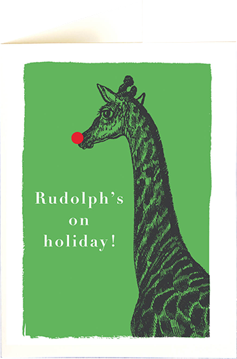 funky quirky unusual modern cool card cards greetings greeting original classic wacky contemporary art illustration photographic distinctive vintage retro fun letterpress Christmas xmas archivist gallery malarkey Rudolphs on holiday giraffe XP86