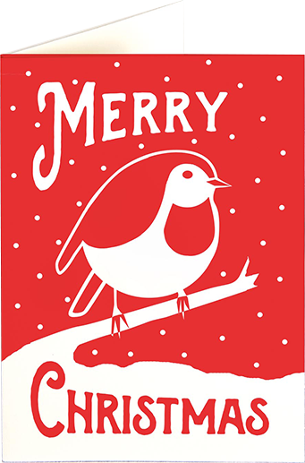 red robin funky quirky unusual modern cool card cards greetings greeting original classic wacky contemporary art illustration photographic distinctive vintage retro fun letterpress Christmas xmas archivist gallery malarkey bird XP88