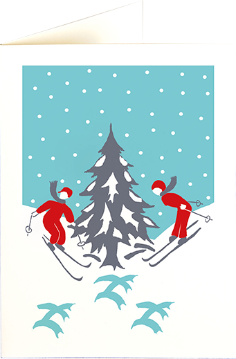 funky quirky unusual modern cool card cards greetings greeting original classic wacky contemporary art illustration photographic distinctive vintage retro fun letterpress Christmas xmas archivist gallery malarkey skiers snow XP90