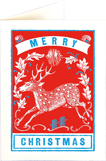 funky quirky unusual modern cool card cards greetings greeting original classic wacky contemporary art illustration photographic distinctive vintage retro fun letterpress Christmas xmas archivist gallery malarkey red stag reindeer XP91