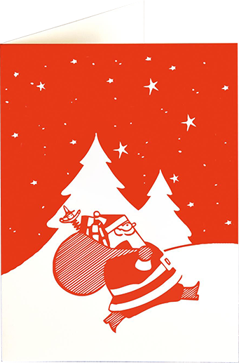 funky quirky unusual modern cool card cards greetings greeting original classic wacky contemporary art illustration photographic distinctive vintage retro fun letterpress Christmas xmas archivist gallery malarkey red santa XP92