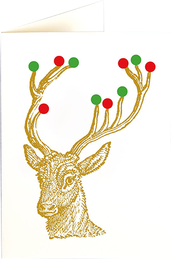 funky quirky unusual modern cool card cards greetings greeting original classic wacky contemporary art illustration photographic distinctive vintage retro fun letterpress Christmas xmas archivist gallery malarkey stag baubles reindeer XP93
