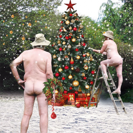 funky quirky unusual modern cool card cards greetings greeting original classic wacky contemporary art illustration photographic distinctive vintage retro Christmas xmas Tracks humourous funny nudes decorating tree naked malarkey xs177