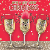 funky quirky unusual modern cool card cards greetings greeting original classic wacky contemporary art illustration photographic distinctive vintage retro Christmas xmas Tracks Humorous funny cute malarkey champagne fizz Prosecco cava wine fluff googlies googly eyes xs381