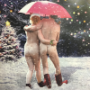 funky quirky unusual modern cool card cards greetings greeting original classic wacky contemporary art illustration photographic distinctive vintage retro Christmas xmas Tracks Humorous funny cute malarkey nudes snow naughty by nature xs383