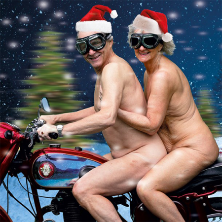funky quirky unusual modern cool card cards greetings greeting original classic wacky contemporary art illustration photographic distinctive vintage retro Christmas xmas Tracks humourous funny motorbike nudes Santa hat malarkey naughty by nature xs384