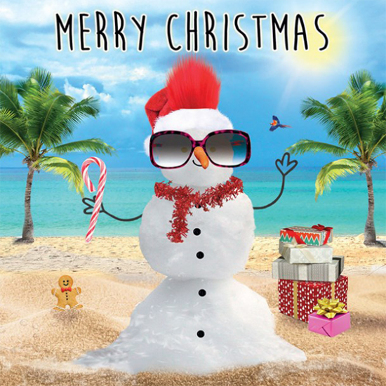 funky quirky unusual modern cool card cards greetings greeting original classic wacky contemporary art illustration photographic distinctive vintage retro Christmas xmas Tracks Humorous funny cute malarkey beach snowman xs394 fluff