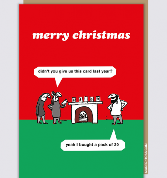 Malarkey Cards sell funky quirky unusual modern cool original classic wacky contemporary art illustration photographic distinctive vintage retro funny rude humorous greetings cards Christmas xmas modern toss XMT72 card pack