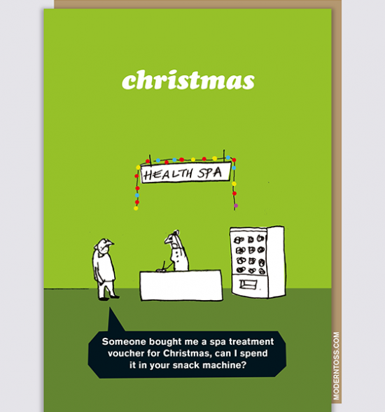 Malarkey Cards sell funky quirky unusual modern cool original classic wacky contemporary art illustration photographic distinctive vintage retro funny rude humorous greetings cards Christmas xmas modern toss spa voucher XMT75