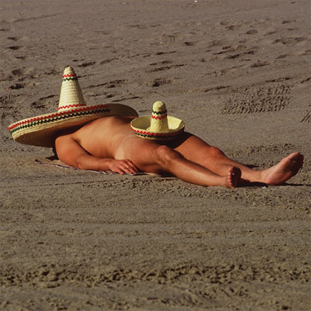 Malarkey Cards Brighton sell funky quirky unusual modern cool original classic wacky contemporary art illustration photographic distinctive vintage retro funny rude humorous birthday greetings cards Tracks you can keep your hat on nude man beach sombrero c1663