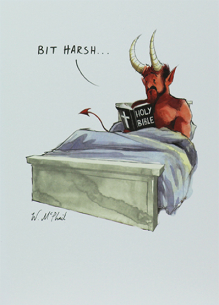 Malarkey Cards Brighton sell funky quirky unusual modern cool original classic wacky contemporary art illustration photographic distinctive vintage retro funny rude humorous birthday greetings cards a colourful mind will mcphail paperlink ECF020 satan reading bible bit harsh