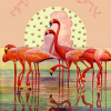 Malarkey Cards Brighton sell funky quirky unusual modern cool original classic wacky contemporary art illustration photographic distinctive vintage retro funny rude humorous birthday magical fantasy whimsical greetings cards madame treacle glitter HB139 pink flamingo sunset