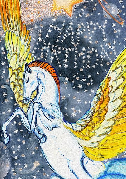 Malarkey Cards Brighton sell funky quirky unusual modern cool original classic wacky contemporary art illustration photographic distinctive vintage retro funny rude humorous birthday magical fantasy whimsical greetings cards madame treacle glitter HB144 pegasus winged horse