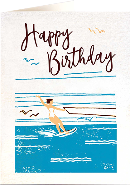 Malarkey Cards Brighton sell funky quirky unusual modern cool card cards greetings greeting original classic wacky contemporary art photographic birthday fun vintage letterpress archivist QP491 happy birthday water skier sea beach
