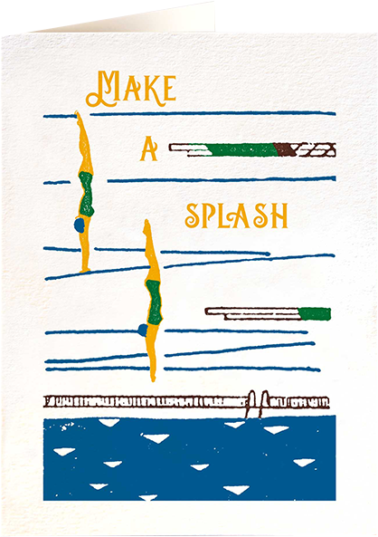 Malarkey Cards Brighton sell funky quirky unusual modern cool card cards greetings greeting original classic wacky contemporary art photographic birthday fun vintage letterpress archivist QP492 make a splash sea diving swimming