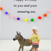 Malarkey Cards Brighton sell funky quirky unusual modern cool card cards greetings greeting original classic wacky contemporary art photographic fun vintage rude jeffrey janice dolls bold & bright miniature JJ003 amazing ass donkey