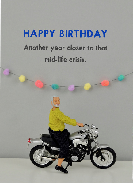 Malarkey Cards Brighton sell funky quirky unusual modern cool card cards greetings greeting original classic wacky contemporary art photographic fun vintage rude jeffrey janice dolls bold & bright miniature JJB030 motorbike mid life crisis