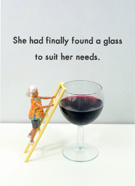 Malarkey Cards Brighton sell funky quirky unusual modern cool card cards greetings greeting original classic wacky contemporary art photographic birthday fun vintage rude jeffrey janice dolls bold & bright miniature JJG028 she had finally found a glass to suit her needs ladder large glass wine