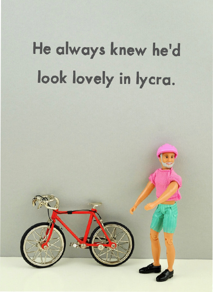 Malarkey Cards Brighton sell funky quirky unusual modern cool card cards greetings greeting original classic wacky contemporary art photographic birthday fun vintage rude jeffrey janice dolls bold & bright miniature JJG030 he always knew he'd look good in lycra bike bicycle