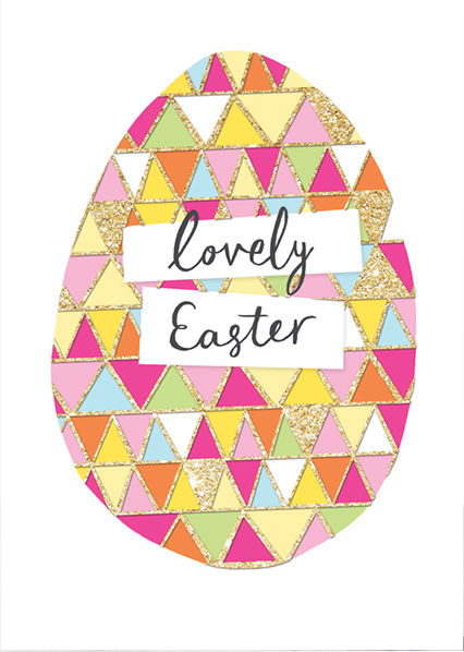 Malarkey Cards Brighton sell funky quirky unusual modern cool card cards greetings greeting original classic wacky contemporary art photographic fun vintage retro Easter rachel ellen gold egg patterned flitter