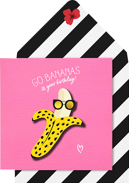 Malarkey Cards Brighton sell funky quirky unusual modern cool card cards greetings greeting original classic wacky contemporary art photographic birthday fun vintage tache 3D modern missy MM10 go bananas