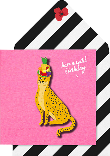 Malarkey Cards Brighton sell funky quirky unusual modern cool card cards greetings greeting original classic wacky contemporary art photographic birthday fun vintage tache 3D modern missy MM12 animal cheetah wild