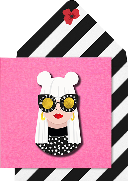 Malarkey Cards Brighton sell funky quirky unusual modern cool card cards greetings greeting original classic wacky contemporary art photographic birthday fun vintage tache 3D modern missy MM15 blonde girl with glasses