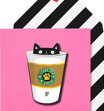 Malarkey Cards Brighton sell funky quirky unusual modern cool card cards greetings greeting original classic wacky contemporary art photographic birthday fun vintage tache 3D modern missy MM17 latte cat coffee