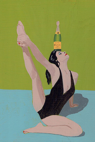 Malarkey Cards Brighton sell funky quirky unusual modern cool original classic wacky contemporary art illustration photographic distinctive vintage retro funny rude humorous birthday east end prints pulp brother PULBRO002c champagne yoga