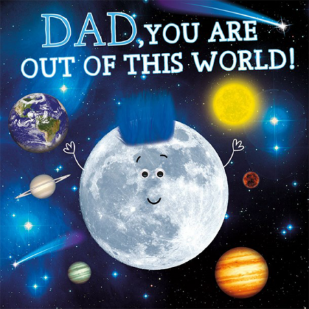 Malarkey Cards Brighton sell funky quirky unusual modern cool card cards greetings greeting original classic wacky contemporary art photographic birthday fun vintage retro 1973 father's day dad daddy father fluff tracks googly eyes out of this world moon solar system planets