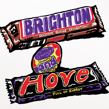 Malarkey Cards Brighton sell funky quirky unusual modern cool original classic wacky contemporary art illustration photographic distinctive vintage retro funny rude humorous birthday Brighton and Hove J David Bennett marmite JDB-17-BTNP-06 snickers mars creme egg
