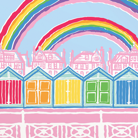 Malarkey Cards Brighton sell funky quirky unusual modern cool original classic wacky contemporary art illustration photographic distinctive vintage retro funny rude humorous birthday Brighton and Hove J David Bennett JDB-17-RB-04 hove beach huts rainbow