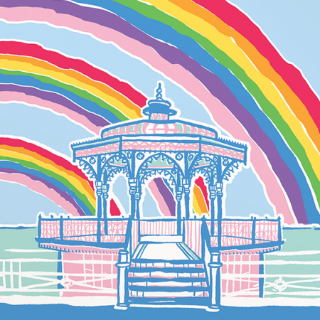 Malarkey Cards Brighton sell funky quirky unusual modern cool original classic wacky contemporary art illustration photographic distinctive vintage retro funny rude humorous birthday Brighton and Hove J David Bennett JDB-17-RB-05 hove bandstand rainbow